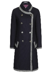 Beaver of Bolton Ladies Framed Shawl Collar Double Breasted 3/4 Coat - Navy