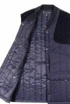Beaver of Bolton Mens Vertical Quilted Shoot Vest in Blue Cotton