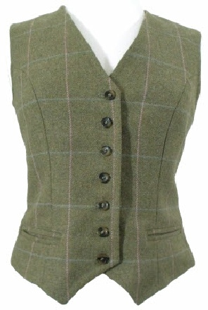 Beaver Ladies Shawl Collar Double Breasted Tweed Waistcoat