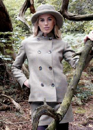 Beaver Ladies Tweed Double Breasted Stand Collar Jacket